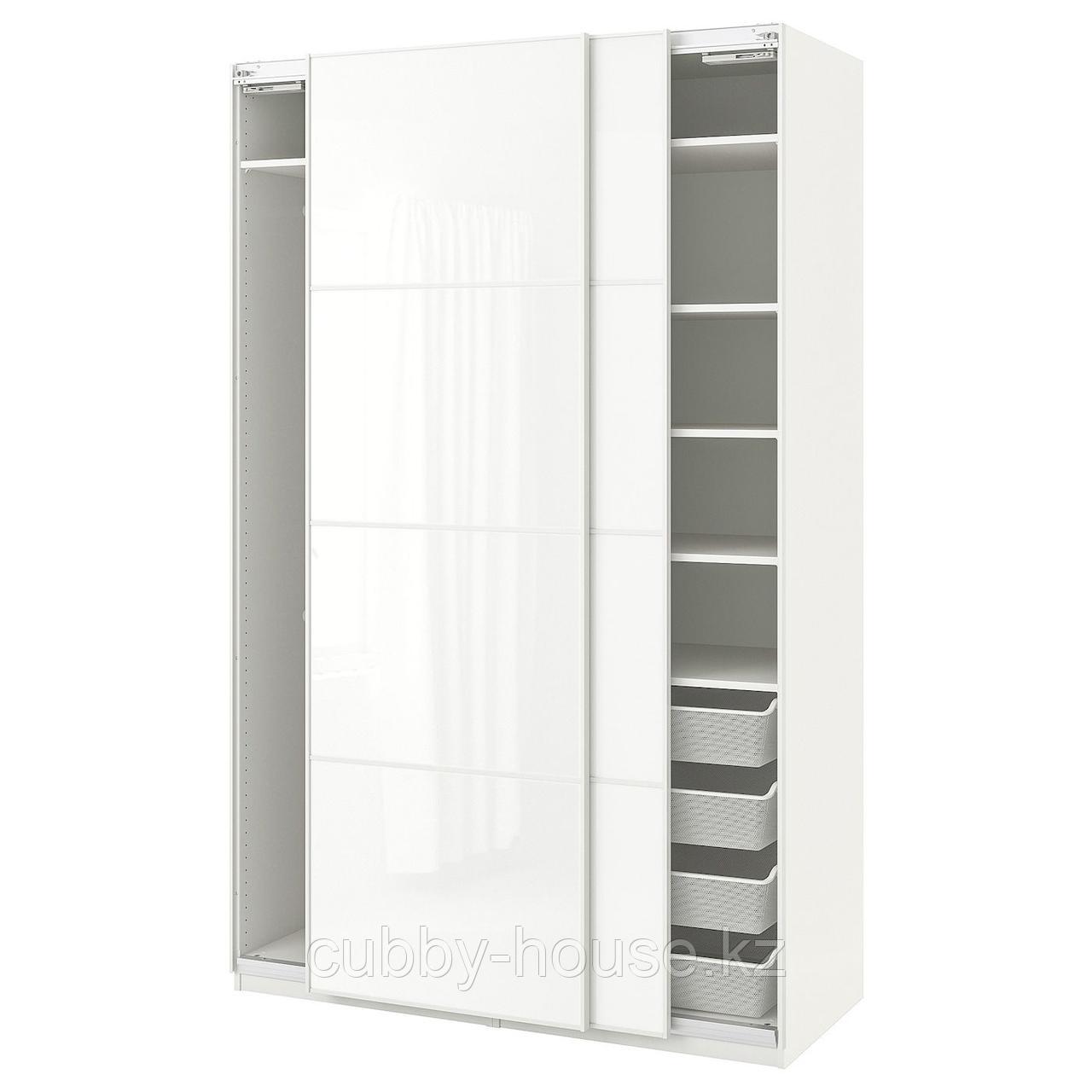 ПАКС Гардероб, белый, Фэрвик белое стекло, 150x66x236 см