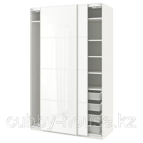 ПАКС Гардероб, белый, Фэрвик белое стекло, 150x66x236 см, фото 2