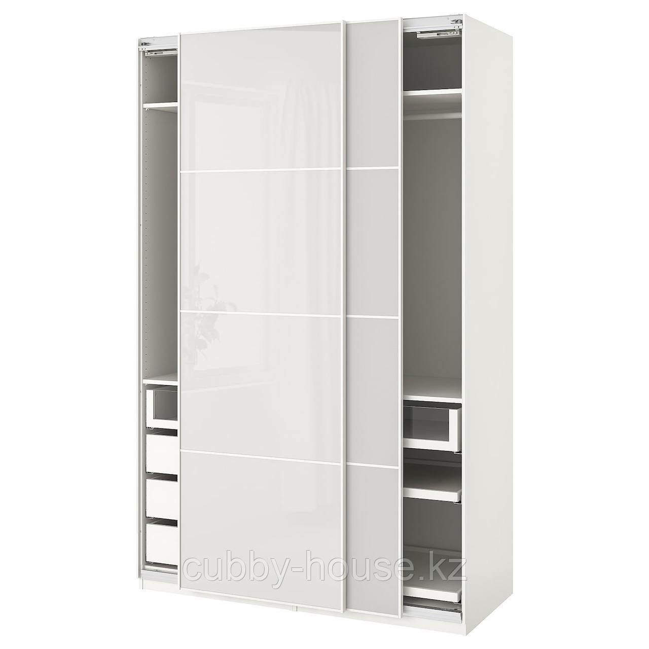 ПАКС Гардероб, белый, Хокксунд светло-серый, 150x66x236 см