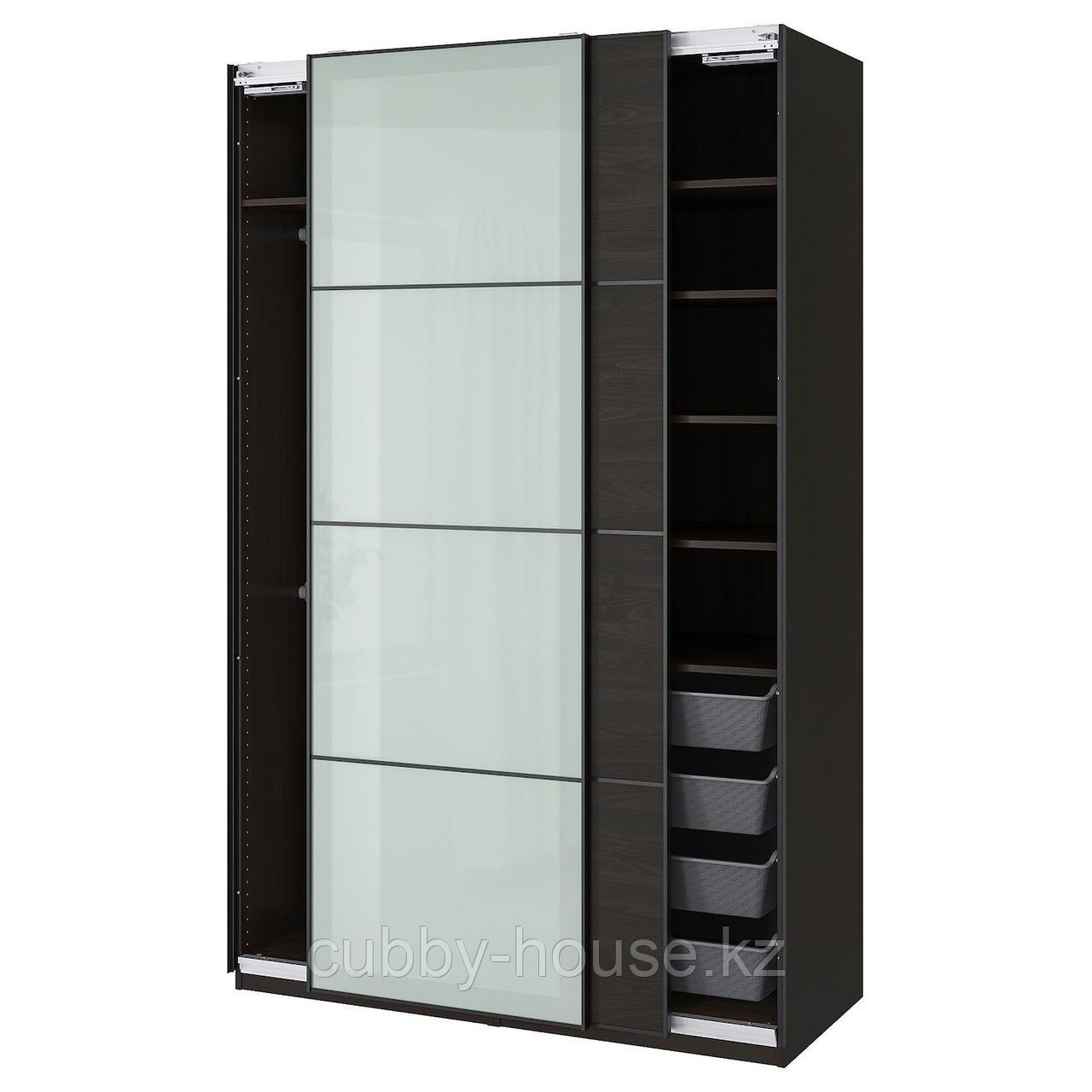 ПАКС / МЕХАМН/СЕККЕН Гардероб, комбинация, черно-коричневый, матовое стекло, 150x66x236 см