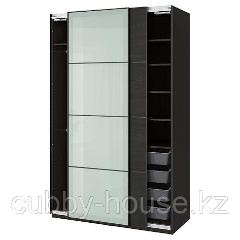 ПАКС / МЕХАМН/СЕККЕН Гардероб, комбинация, черно-коричневый, матовое стекло, 150x66x236 см, фото 2