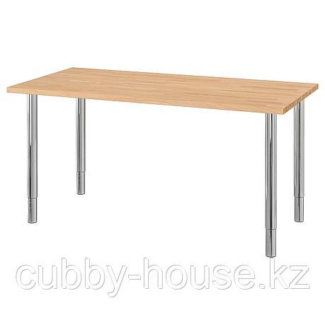 ГЕРТОН Стол, бук, хромированный, 155x75 см, фото 2