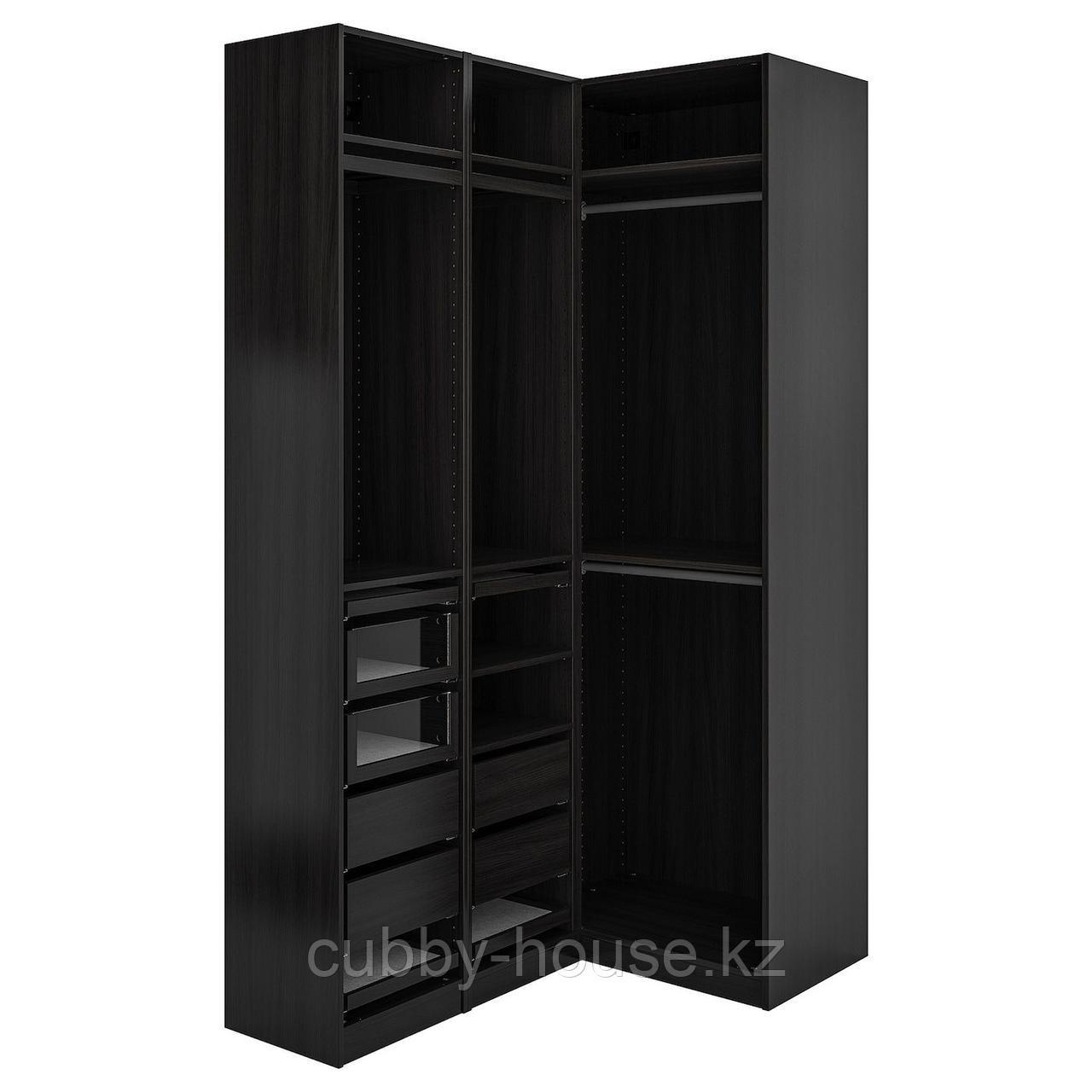ПАКС Гардероб угловой, черно-коричневый, 160/88x236 см