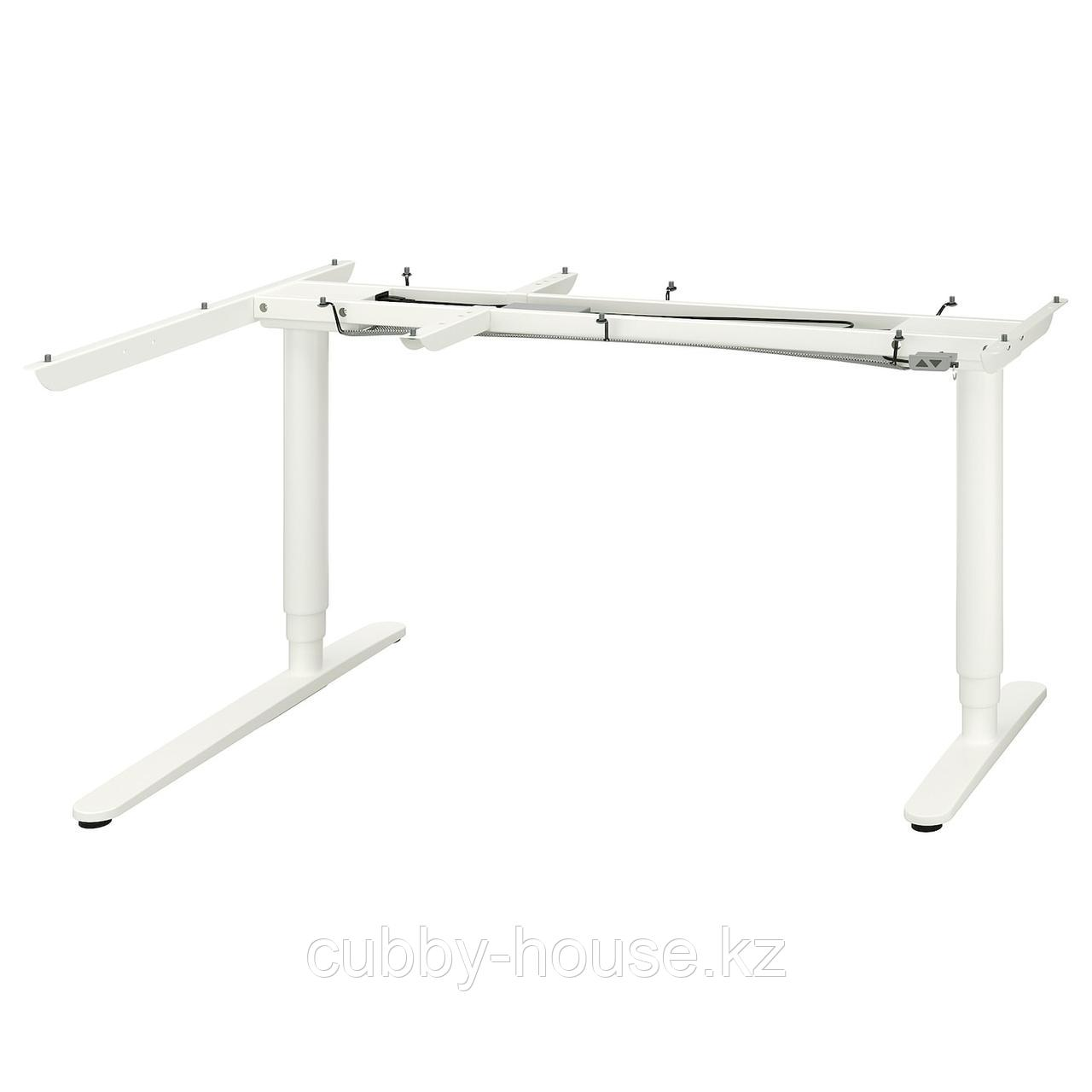 БЕКАНТ Угловой стол-трансформер,электр, белый, 160x110 см