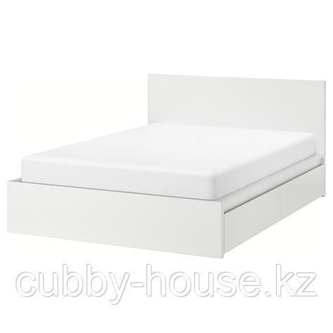 МАЛЬМ Каркас кровати+2 кроватных ящика, белый, Лурой, 180x200 см, фото 2