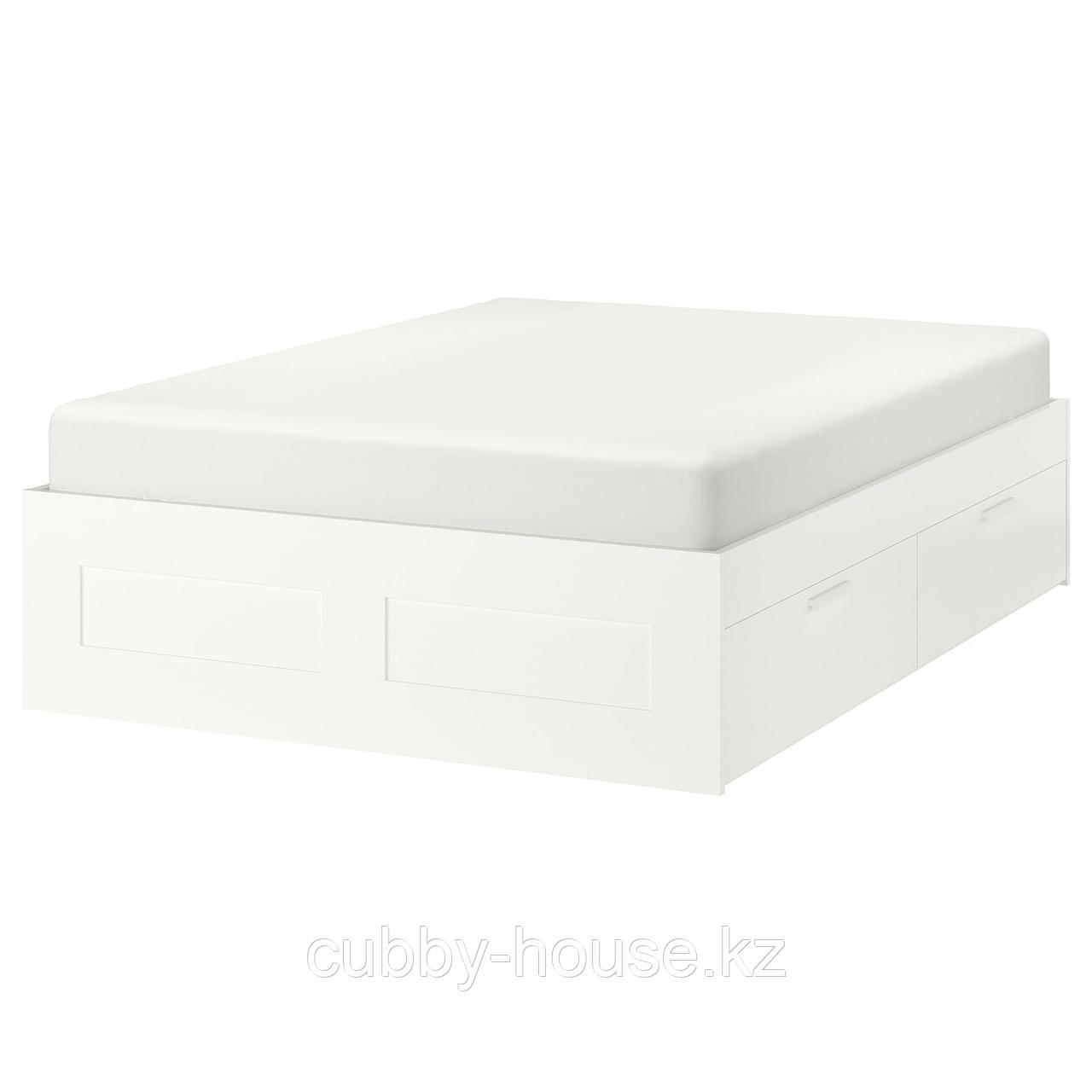 БРИМНЭС Каркас кровати с ящиками, белый, Лурой, 160x200 см