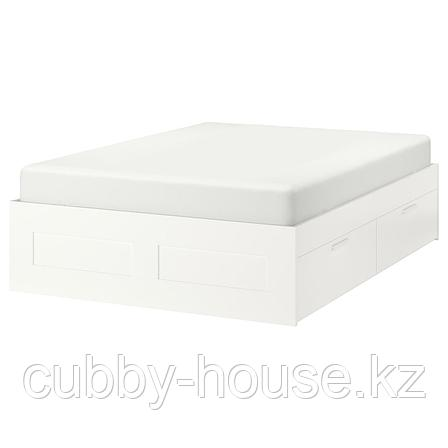 БРИМНЭС Каркас кровати с ящиками, белый, Лурой, 160x200 см, фото 2