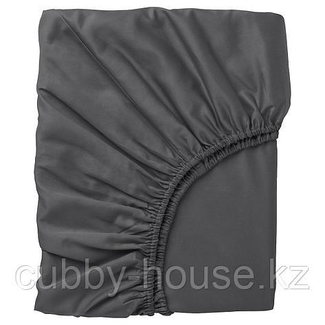 НАТТЭСМИН Простыня натяжная, темно-серый, 140x200 см, фото 2