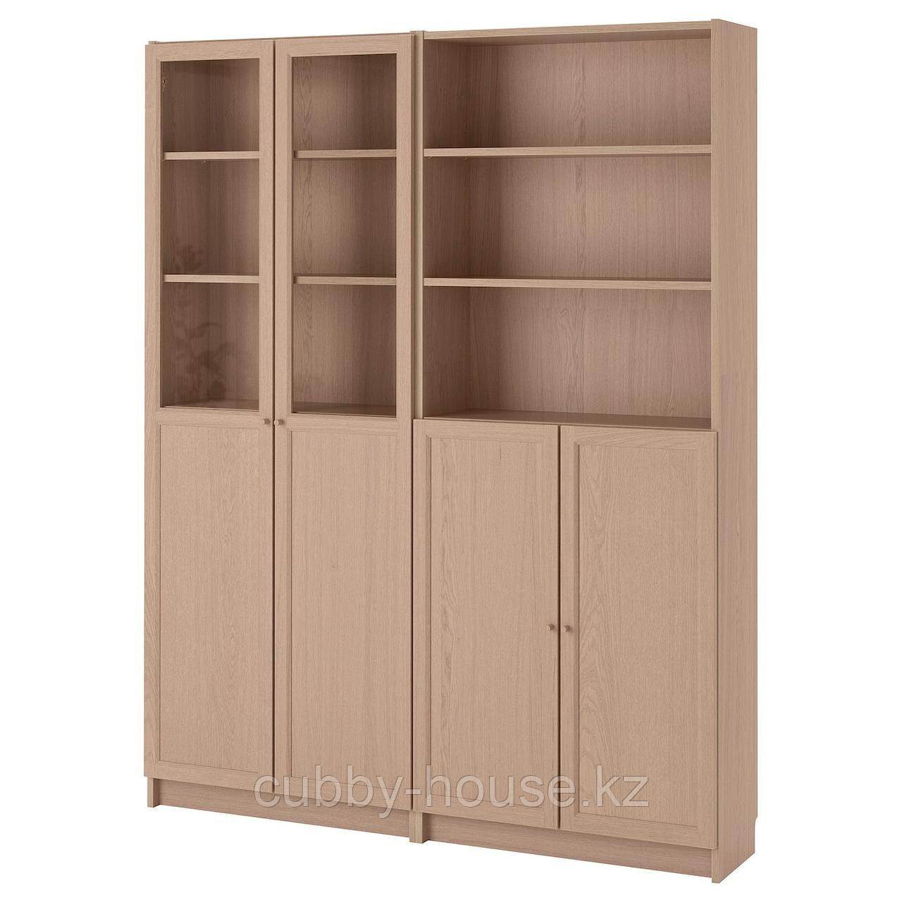БИЛЛИ / ОКСБЕРГ Стеллаж/панельные/стеклянные двери, черно-коричневый, 160x30x202 см