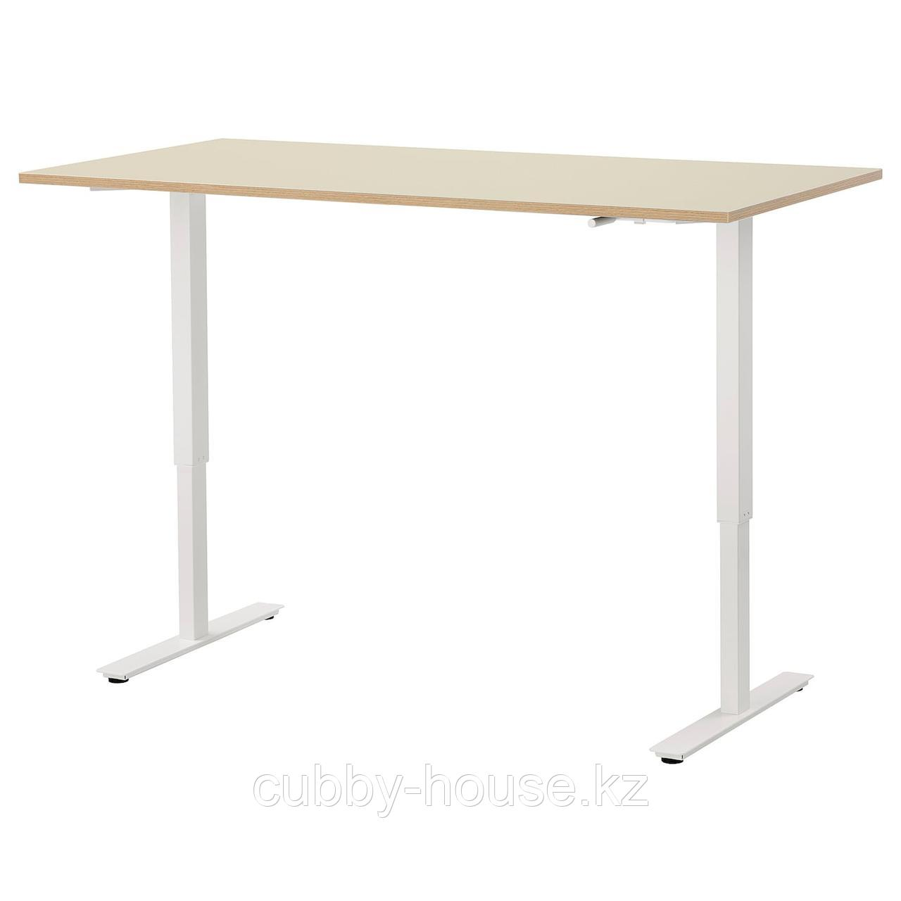 СКАРСТА Стол/трансф, бежевый, белый, 160x80 см