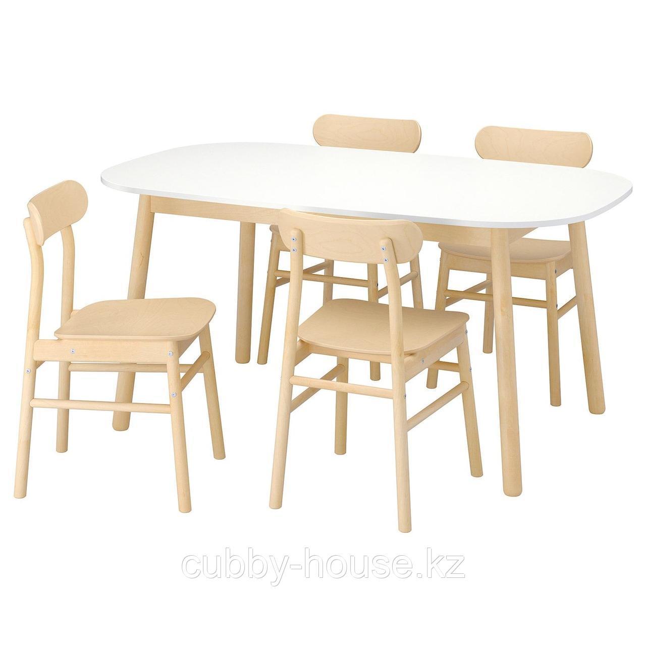 ВЕДБУ / РЁННИНГЕ Стол и 4 стула, белый, береза, 160x95 см