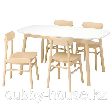 ВЕДБУ / РЁННИНГЕ Стол и 4 стула, белый, береза, 160x95 см, фото 2