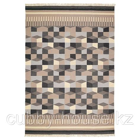 ТОРБЭК Ковер безворсовый, ручная работа, серый/бежевый, 170x240 см, фото 2