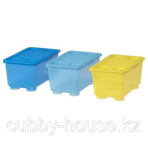 ГЛИС Контейнер с крышкой, желтый, синий, 17x10 см, фото 2