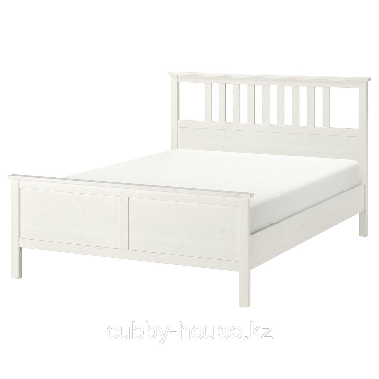 ХЕМНЭС Каркас кровати, белая морилка, 160x200 см