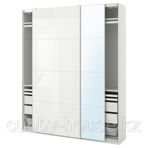 ПАКС / ФЭРВИК/АУЛИ Гардероб, комбинация, белый, белое стекло зеркальное стекло, 200x44x236 см, фото 2
