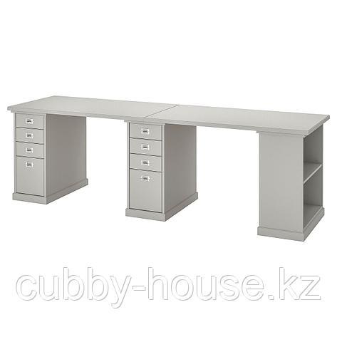 КЛИМПЕН Стол, светло-серый серый, 240x60 см, фото 2