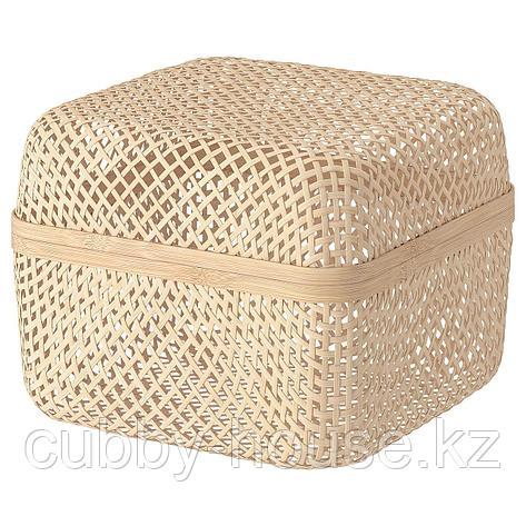 СМАРРА Коробка с крышкой, естественный, 30x30x23 см, фото 2