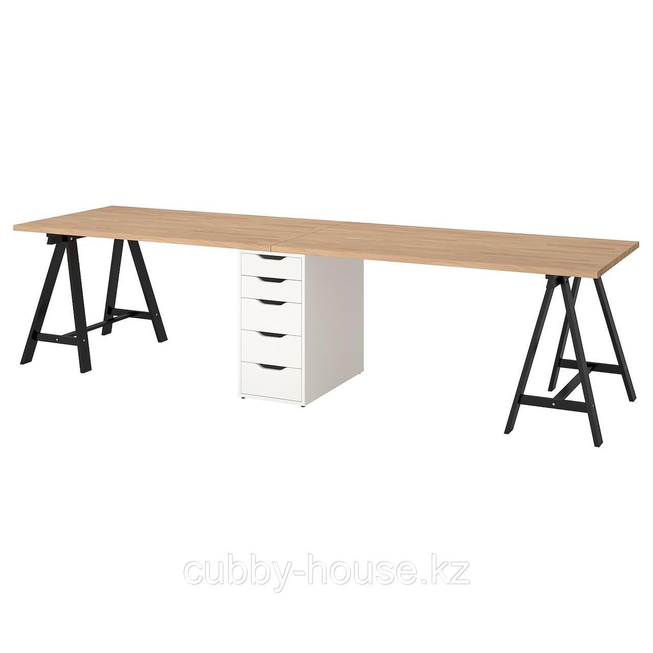 ГЕРТОН Стол, бук, черный белый, 310x75 см