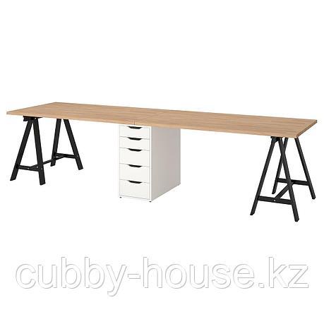 ГЕРТОН Стол, бук, черный белый, 310x75 см, фото 2