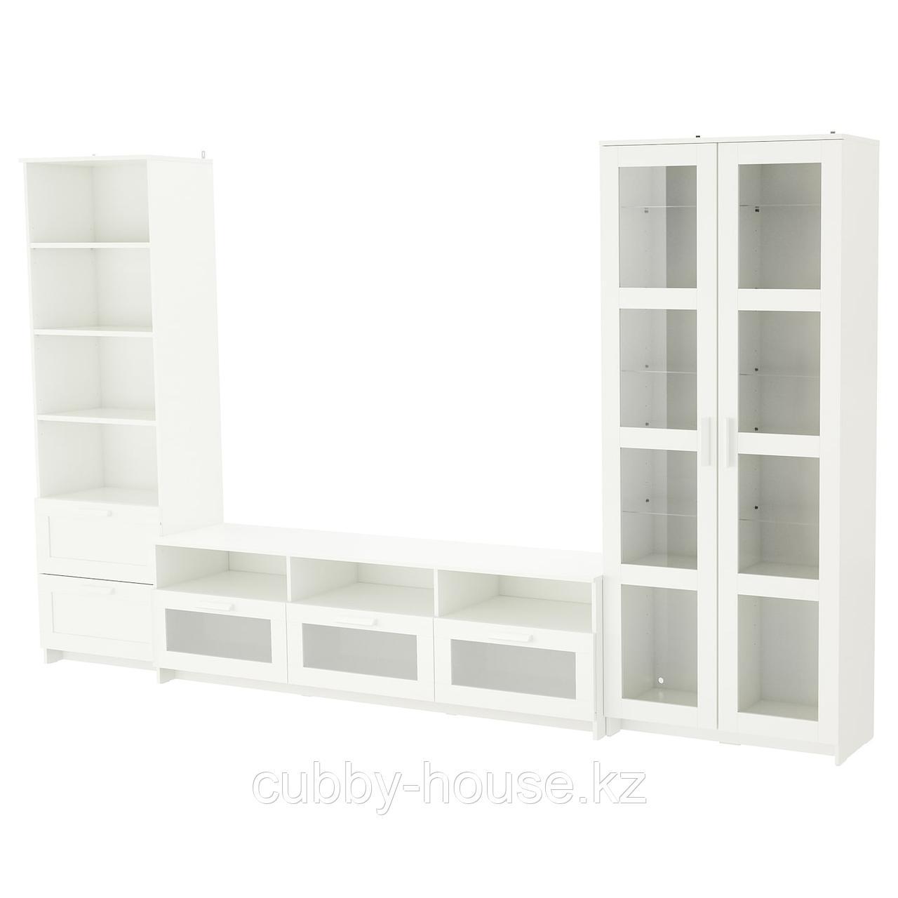 БРИМНЭС Шкаф для ТВ, комбин/стеклян дверцы, (белый, чёрный) 320x41x190 см