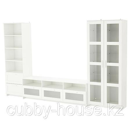 БРИМНЭС Шкаф для ТВ, комбин/стеклян дверцы, (белый, чёрный) 320x41x190 см, фото 2