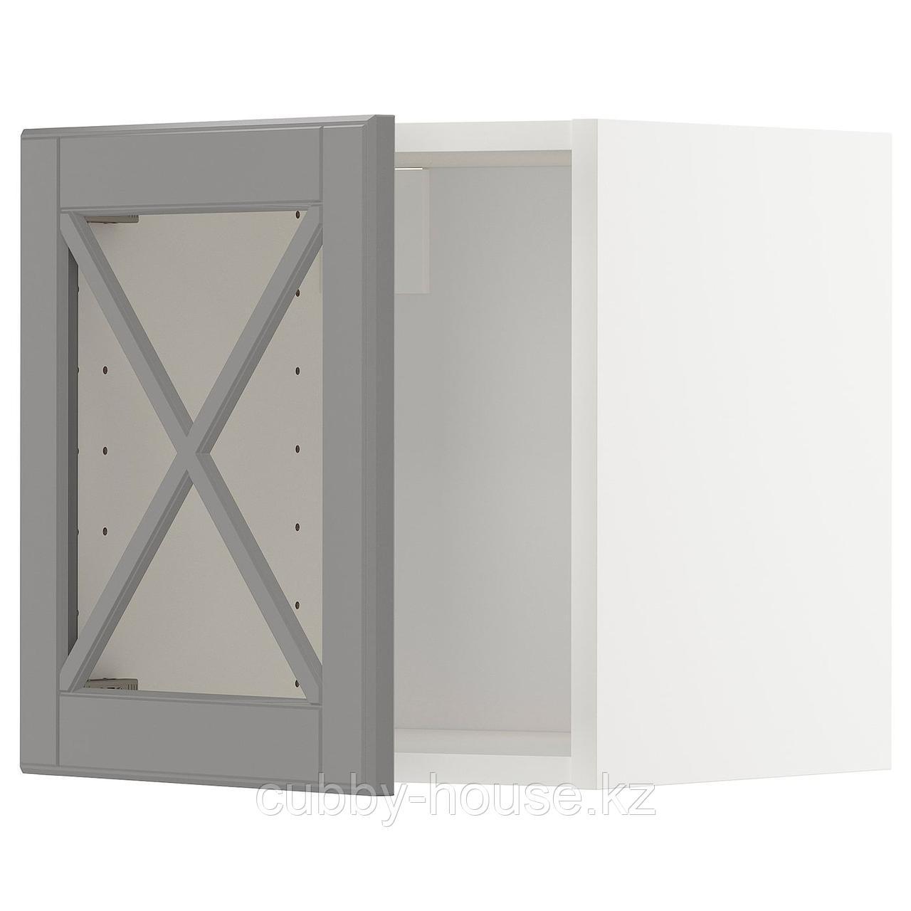 МЕТОД Навесной шкаф со стеклянной дверью, белый, Будбин серый, 40x40 см