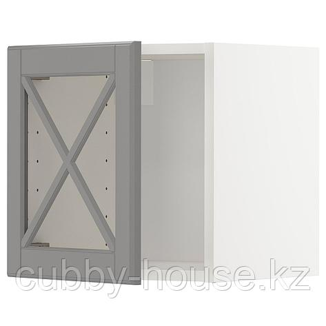 МЕТОД Навесной шкаф со стеклянной дверью, белый, Будбин серый, 40x40 см, фото 2