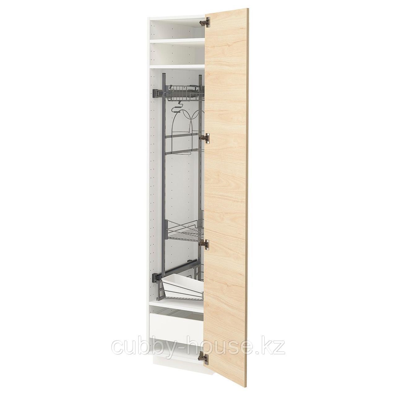 МЕТОД / МАКСИМЕРА Высокий шкаф с отд д/акс д/уборки, белый, Аскерсунд под светлый ясень, 40x60x200 см