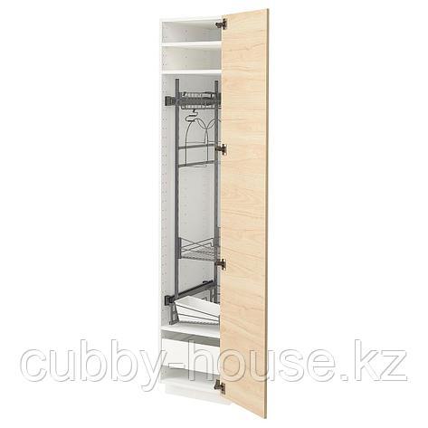 МЕТОД / МАКСИМЕРА Высокий шкаф с отд д/акс д/уборки, белый, Аскерсунд под светлый ясень, 40x60x200 см, фото 2
