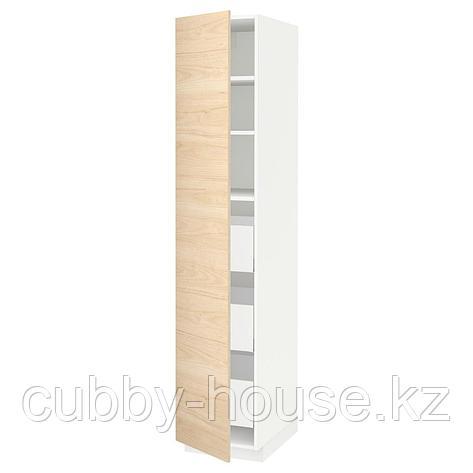 МЕТОД / МАКСИМЕРА Высокий шкаф с ящиками, белый, Аскерсунд под светлый ясень, 40x60x200 см, фото 2