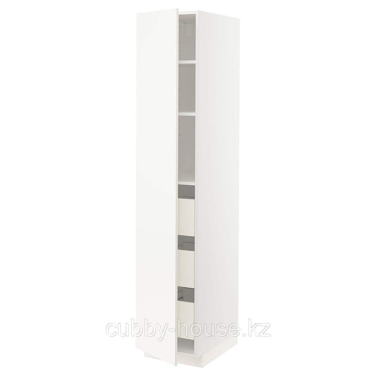 МЕТОД / ФОРВАРА Высокий шкаф с ящиками, белый, Веддинге белый, 40x60x200 см