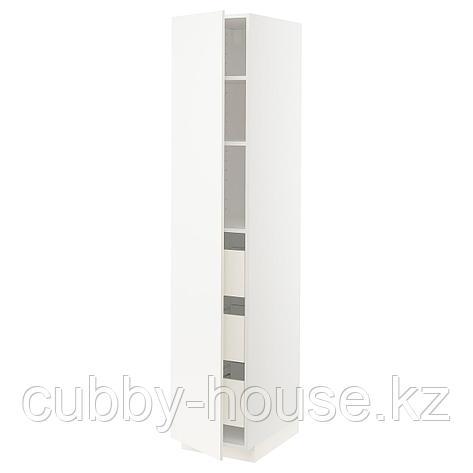 МЕТОД / ФОРВАРА Высокий шкаф с ящиками, белый, Веддинге белый, 40x60x200 см, фото 2