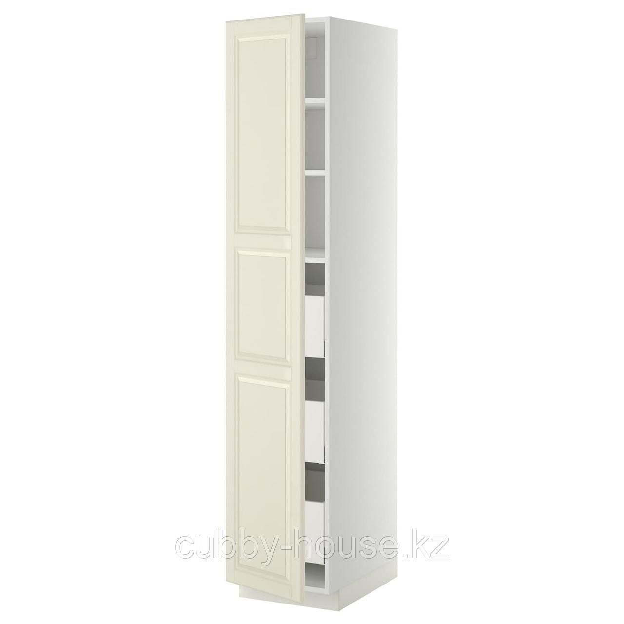 МЕТОД / МАКСИМЕРА Высокий шкаф с ящиками, белый, Будбин белый с оттенком, 40x60x200 см
