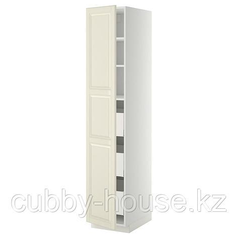 МЕТОД / МАКСИМЕРА Высокий шкаф с ящиками, белый, Будбин белый с оттенком, 40x60x200 см, фото 2