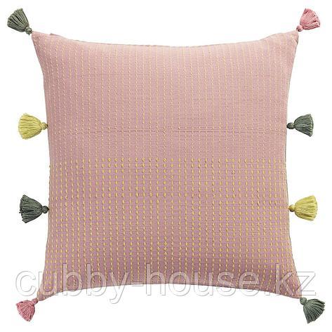 КЛАРАФИНА Чехол на подушку, ручная работа розовый, зеленый, 50x50 см, фото 2