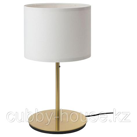 РИНГСТА / СКАФТЕТ Лампа настольная, белый, латунь, 56 см, фото 2