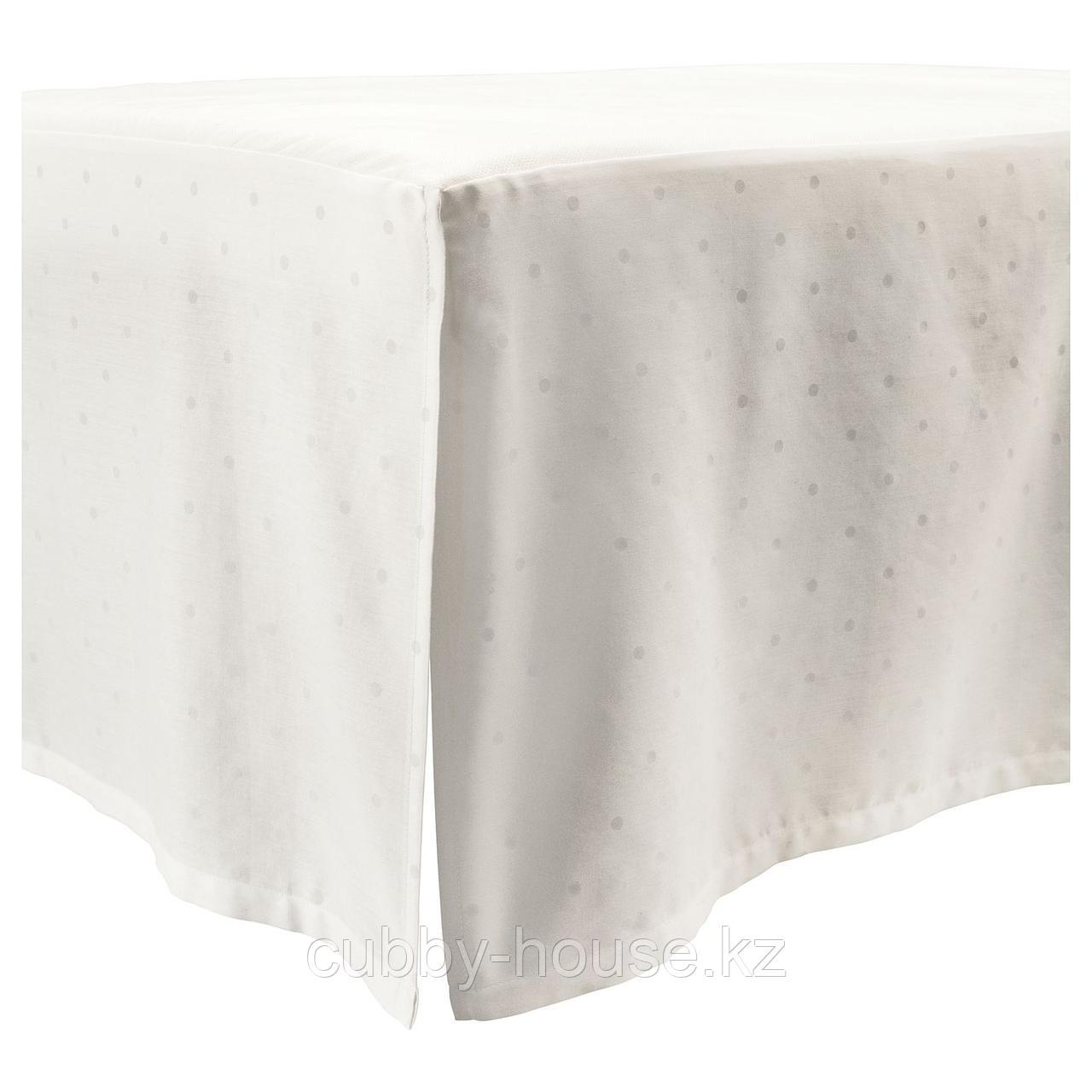 ЛЕНАСТ Подзор для кроватки, точечный, белый, 60x120 см