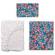 РЁРАНДЕ Комплект постельного белья, 3 предм, цветочный орнамент, синий розовый, 60x120 см