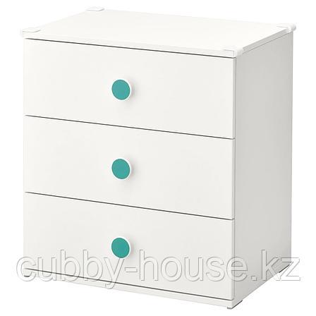 ГОДИХУС Комод с 3 ящиками, белый, 60x64 см, фото 2