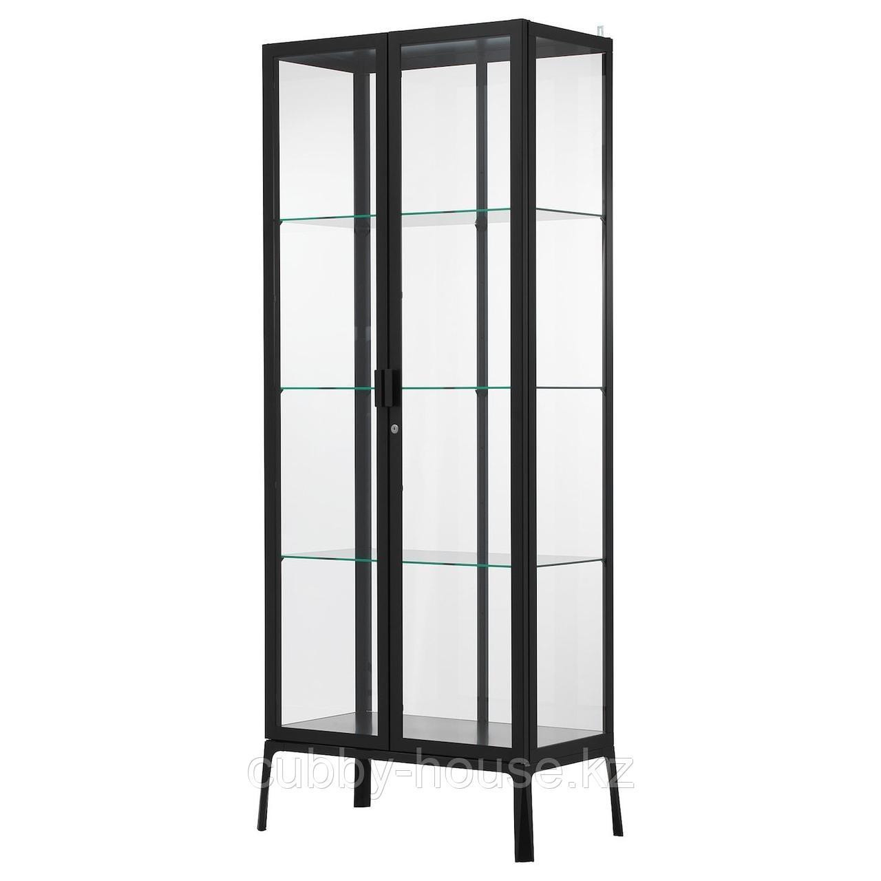 МИЛЬСБУ Шкаф-витрина, антрацит, 73x175 см