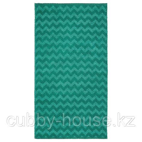 БРЕДЕВАД Ковер безворсовый, зигзаг зеленый, 75x150 см, фото 2