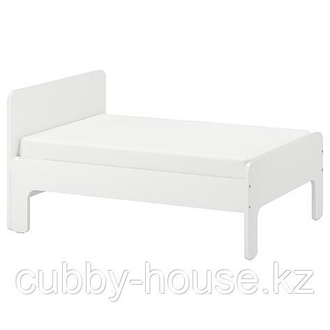СЛЭКТ Раздвижная кровать с реечным дном, белый, 80x200 см, фото 2