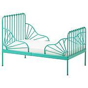 МИННЕН Раздвижная кровать с реечным дном, бирюзовый, 80x200 см