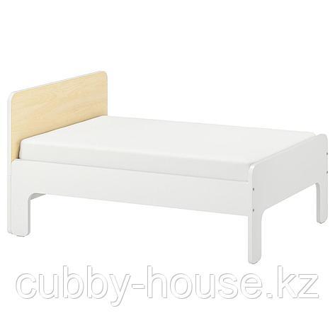 СЛЭКТ Раздвижная кровать с реечным дном, белый, береза, 80x200 см, фото 2