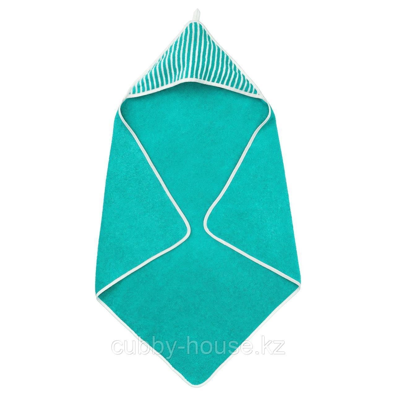 РЁРАНДЕ Полотенце с капюшоном, в полоску, зеленый, 80x80 см