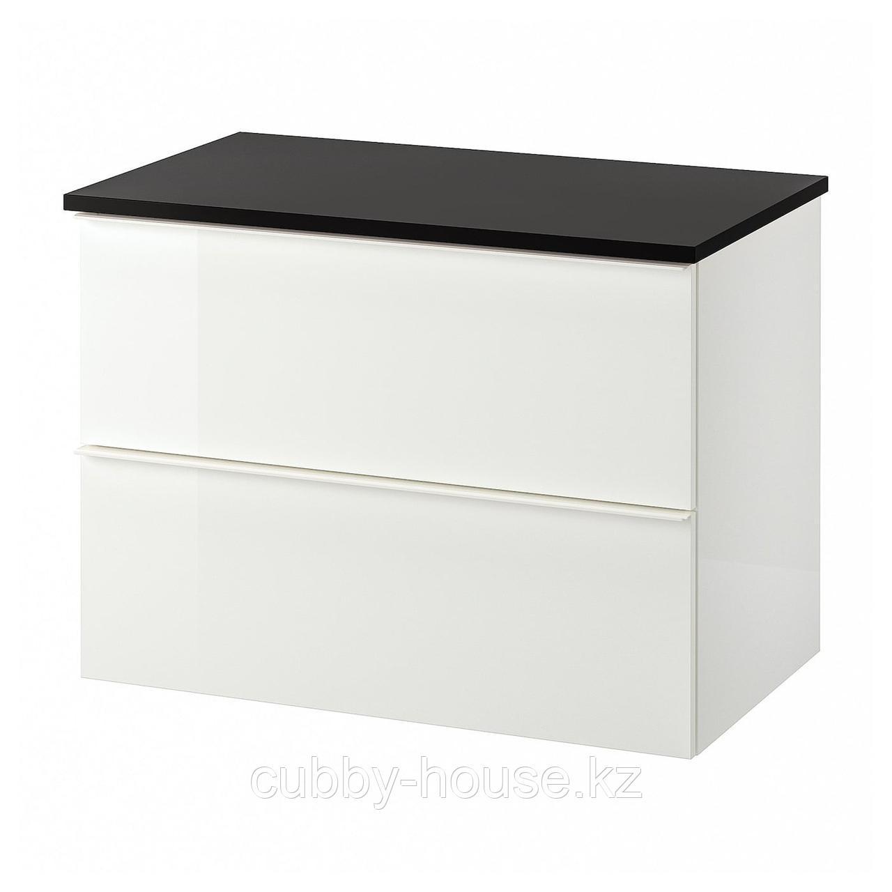 ГОДМОРГОН / ТОЛКЕН Шкаф для раковины с 2 ящ, глянцевый белый, под мрамор, 82x49x60 см