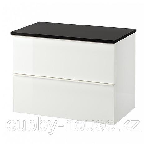 ГОДМОРГОН / ТОЛКЕН Шкаф для раковины с 2 ящ, глянцевый белый, под мрамор, 82x49x60 см, фото 2