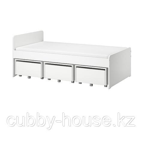 СЛЭКТ Каркас кровати с 3 ящиками, белый, 90x200 см, фото 2
