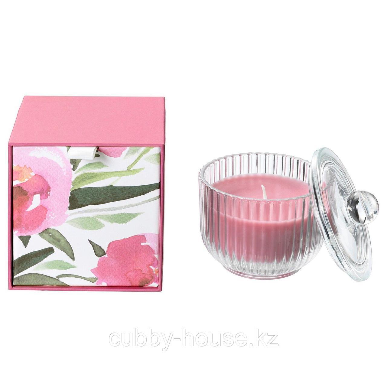 БЛОМДОРФ Ароматическая свеча в стакане, Пион, розовый, 9 см